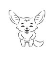 black and white laughing fennec fox with paws vector image vector image