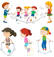 Boys and girls jumping rope vector image vector image