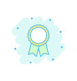 cartoon award ribbon icon in comic style medal vector image
