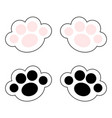 cat paw print leg foot icon set with pink and vector image vector image