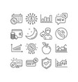 chart cashback and calendar discounts icons vector image