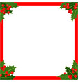 christmas card red frame with holly vector image vector image