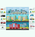 city transport infographic horizontal banners vector image