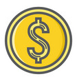 coin dollar filled outline icon business finance vector image vector image