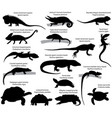 collection silhouettes reptiles green vector image