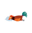 colorful rooster sleeping on pillow farm cock vector image vector image