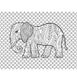 coloring page with doodle style elephant vector image vector image