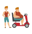 Concept fitness weight loss fat man and thin vector image