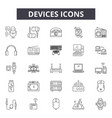 devices line icons signs set outline vector image vector image