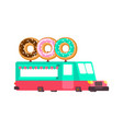 donut car food truck fast food car vector image