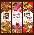 fast food burger drink and dessert sketch banner vector image vector image