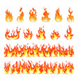 fire flame burning firex seamless border cartoon vector image