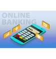 Flat 3d isometric clipart online banking vector image vector image