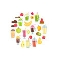 flat smoothie elements in circle shape vector image vector image