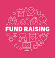 fund raising outline on red vector image