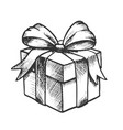 gift box closed and decorated bow retro vector image