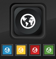 Globe icon symbol Set of five colorful stylish vector image