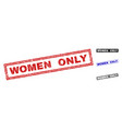 grunge women only scratched rectangle watermarks vector image vector image