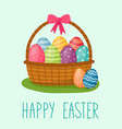 happy easter card basket with eggs handwriting vector image
