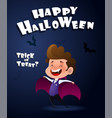 happy halloween kid weard as dracula vector image