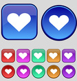 Heart Love icon sign A set of twelve vintage vector image vector image