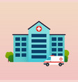hospital with ambulance flat vector image vector image