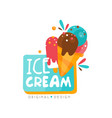 ice cream shop logo design template label for bar vector image vector image