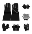 isolated object of glove and winter logo set of vector image