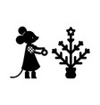 line figure mouse outline forest vector image vector image