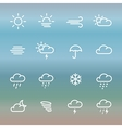 Lines weather forcast Icon set on gradient vector image