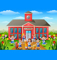 many school children in front of school building vector image vector image
