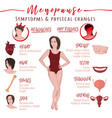 menopause symptoms and physical changes vector image vector image
