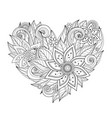 monochrome floral composition in heart shape vector image vector image