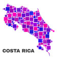 mosaic costa rica map of square elements vector image vector image