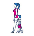 mother walking her son holding hands vector image