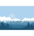 mountains and forest foggy landscape with vector image vector image