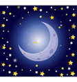 Night scene with moon and stars vector image vector image