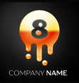number eight splash logo golden dots and bubbles vector image vector image