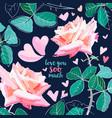 pink rose watercolor love you soo vector image vector image