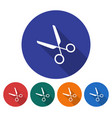 round icon of scissors flat style with long vector image