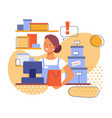 saleswoman at work in store flat stylized vector image vector image