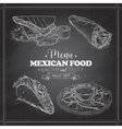 scetch mexican food menu on a black board vector image vector image