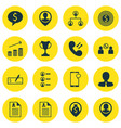 set of 16 management icons includes business goal vector image vector image