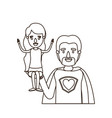 sketch contour caricature half body super dad hero vector image vector image