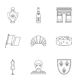 Tourism in France icons set outline style vector image vector image