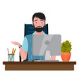 upset man sitting on an office chair at a computer vector image vector image