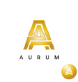 Letter A golden style wide lines logo vector image