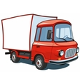 Cartoon red commercial truck vector image