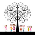 family with curled tree on white background vector image