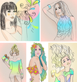 set of beautiful girls vector image